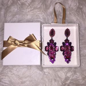 Dazzling fuschia bling earrings gift set-2 for 1!